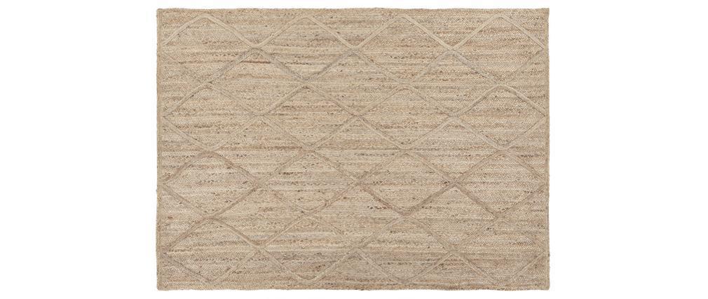 Tapis naturel en jute tissé main avec motifs losanges 160 x 230 cm RAFI