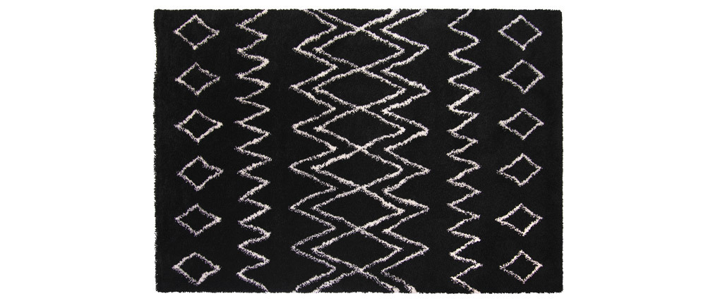 Tapis noir et ivoire polypropylène 160x230 cm AZETTA