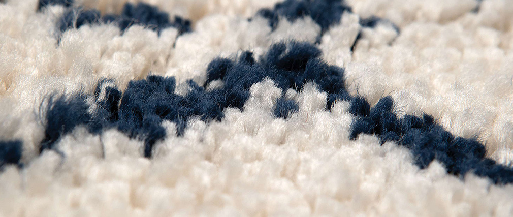 Tapis polypropylène naturel et bleu 200 x 290 cm BERBERE