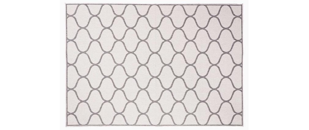 Tapis reversible intérieur/extérieur blanc crème et gris 160 x 230 cm SPIN