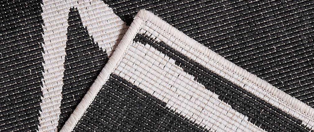 Tapis réversible intérieur extérieur blanc et noir 160 x 230 cm ROCCA