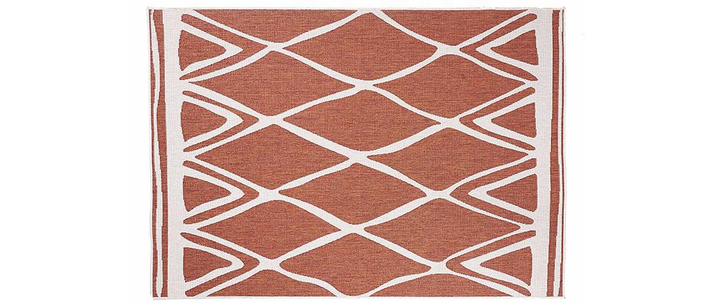 Tapis réversible intérieur extérieur terracotta et blanc 160 x 230 cm ROCCA