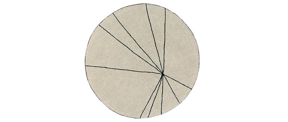 Tapis rond coton beige 160cm RADIUM
