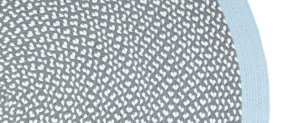 Tapis rond en coton bleu et gris 120 cm BRENDA