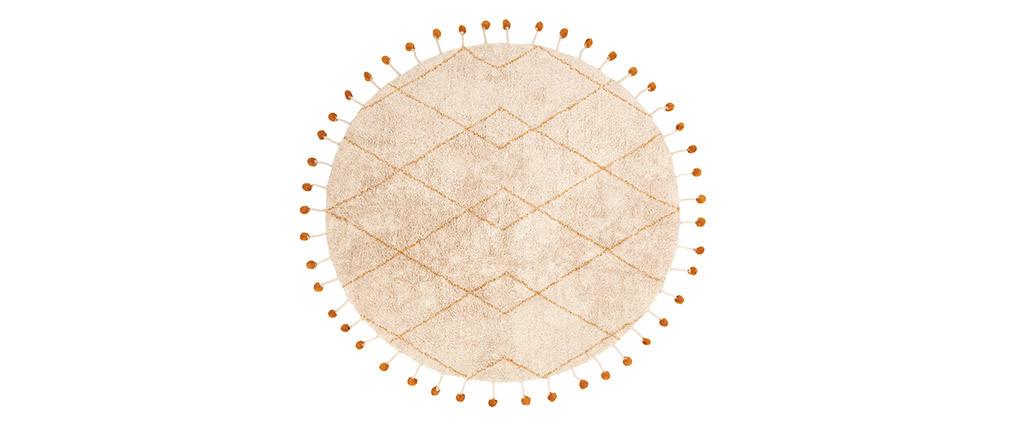 Tapis rond en coton naturel et pompons 135 cm TANVI
