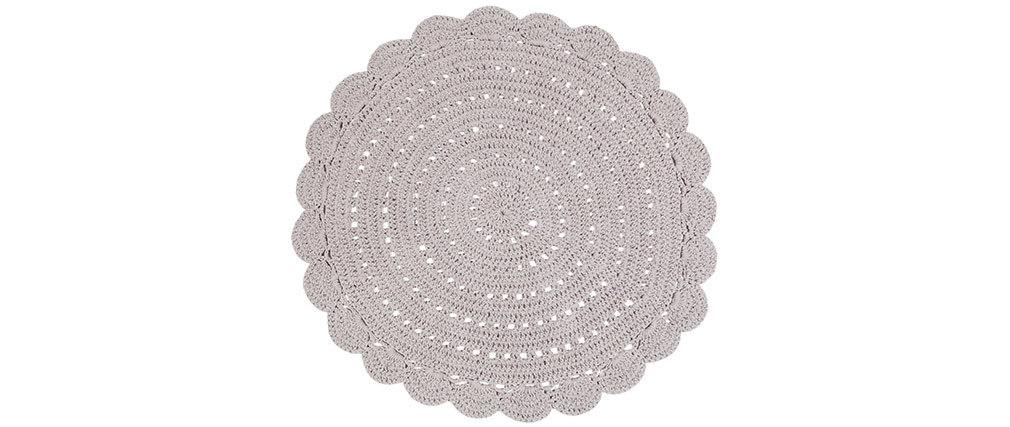 Tapis rond en crochet gris clair 120 cm ALMA