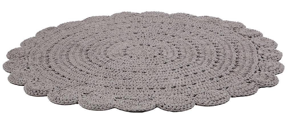 Tapis rond en crochet gris foncé 120 cm ALMA