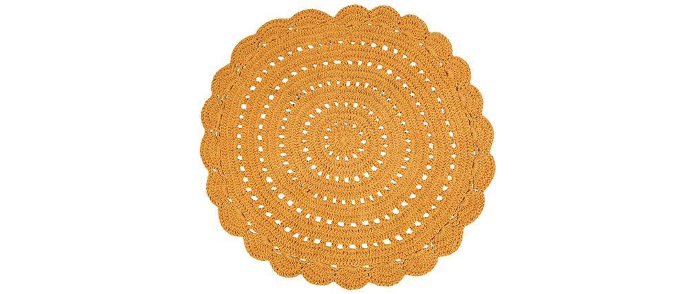Tapis rond en crochet jaune 120 cm ALMA