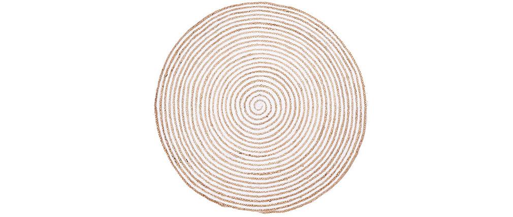 Tapis rond en jute naturel et coton blanc D150 cm CORDA