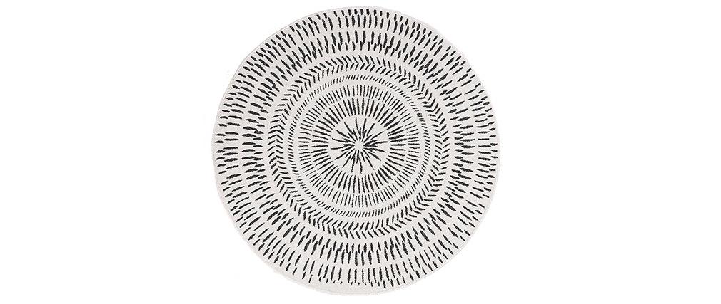 Tapis rond réversible intérieur extérieur blanc et noir D160 cm ENYA
