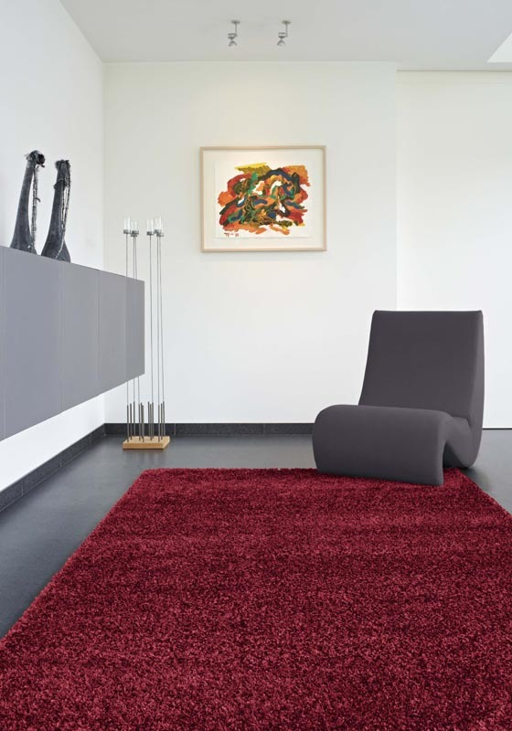 tapis shaggy 160x230 rouge bordeau flavio miliboo. Black Bedroom Furniture Sets. Home Design Ideas