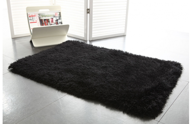 tapis shaggy descente de lit noir 60x90 valdo miliboo. Black Bedroom Furniture Sets. Home Design Ideas