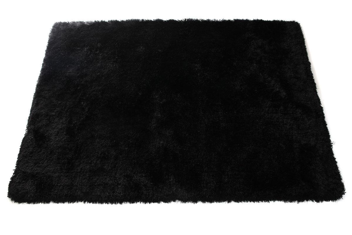 Tapis shaggy noir 160x230 cm ugo miliboo - Tapis shaggy noir brillant ...