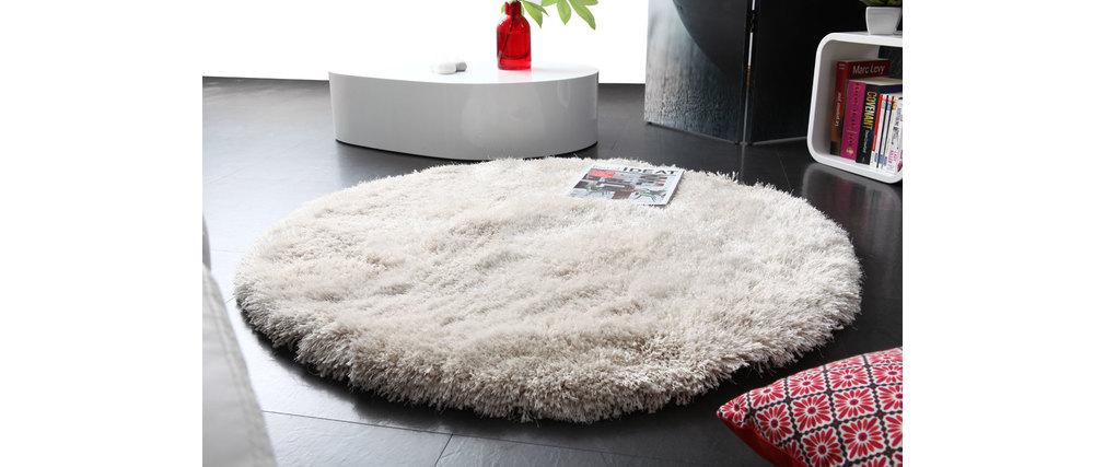 tapis shaggy rond blanc 100 cm ugo miliboo. Black Bedroom Furniture Sets. Home Design Ideas