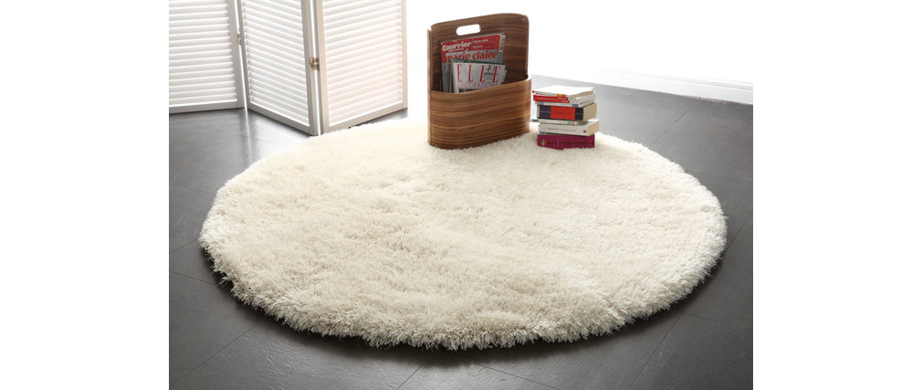 tapis shaggy rond blanc 150 cm ugo miliboo. Black Bedroom Furniture Sets. Home Design Ideas