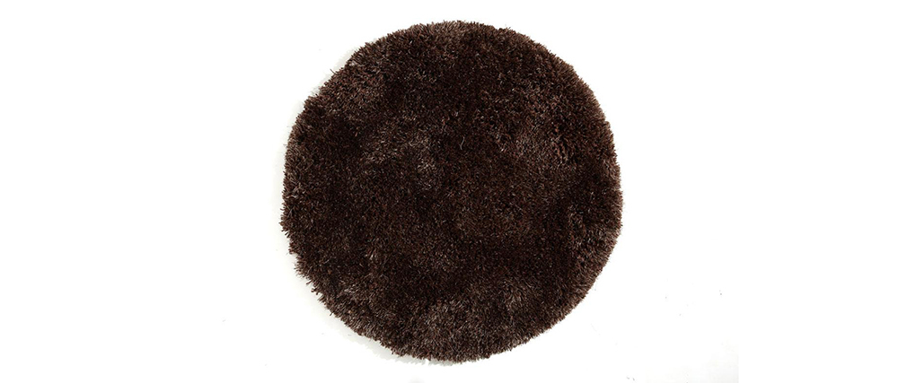 tapis shaggy rond chocolat 100 cm ugo miliboo. Black Bedroom Furniture Sets. Home Design Ideas