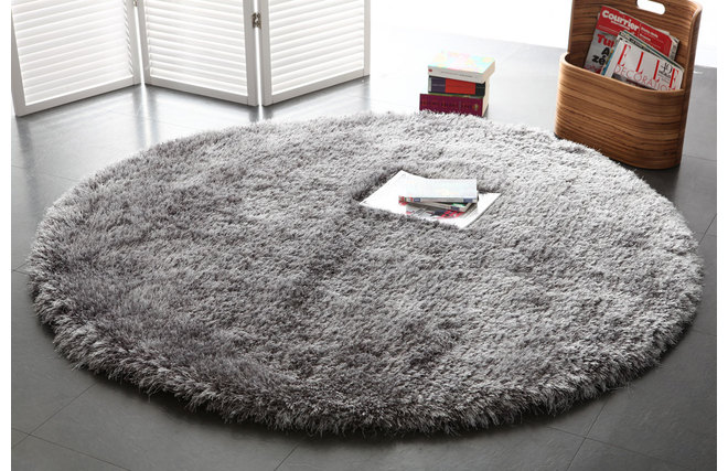 tapis shaggy rond gris 150 cm ugo miliboo. Black Bedroom Furniture Sets. Home Design Ideas