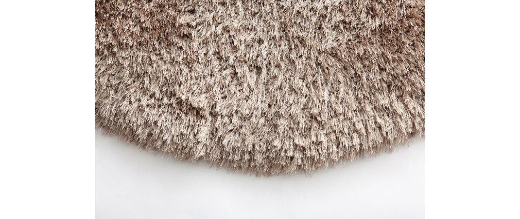 tapis shaggy rond taupe 100 cm ugo miliboo. Black Bedroom Furniture Sets. Home Design Ideas