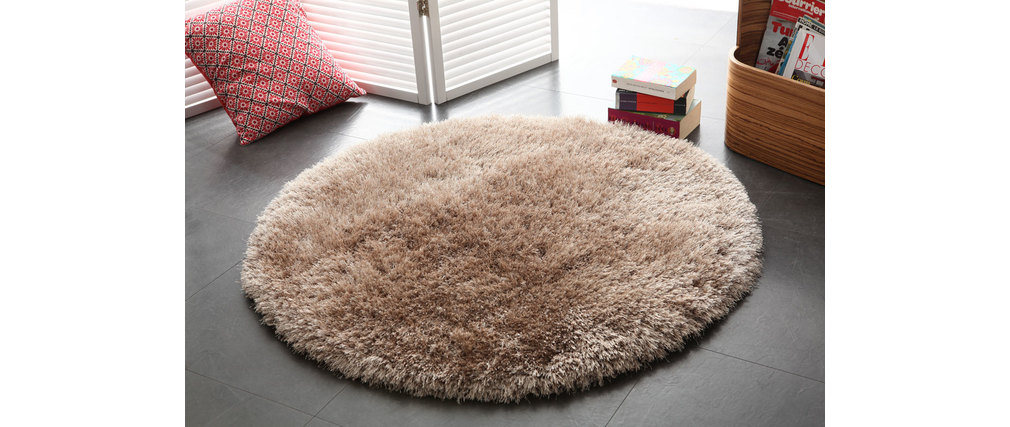 tapis shaggy rond taupe 100 cm ugo miliboo. Black Bedroom Furniture Sets. Home Design Ideas