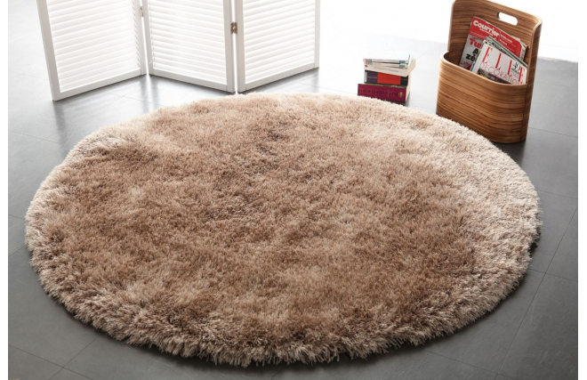 tapis shaggy rond taupe 150 cm ugo miliboo. Black Bedroom Furniture Sets. Home Design Ideas