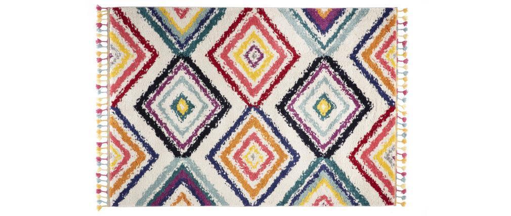 Tapis style berbère avec pompons multicolore 160 x 230 cm JEMAA