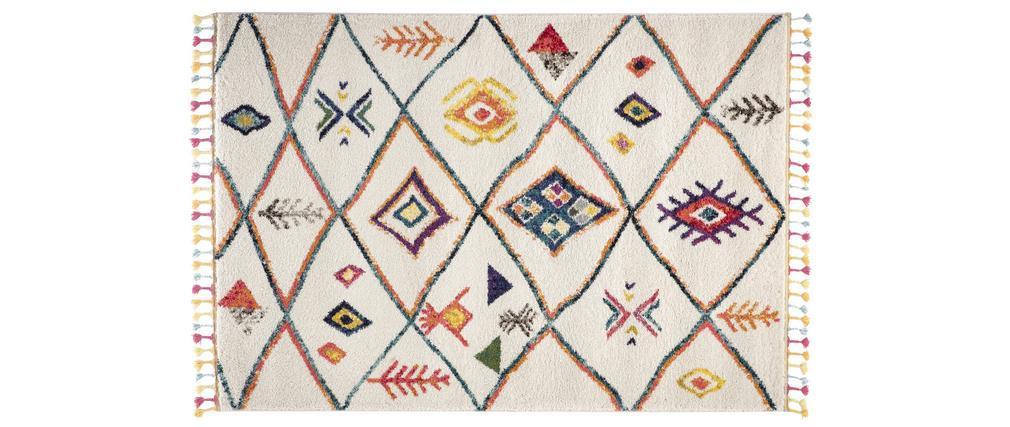 Tapis style berbère avec pompons multicolore 160 x 230 cm MEDINA