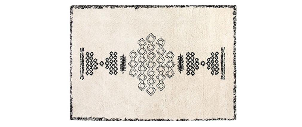 Tapis style berbère en laine noir et blanc 160x230 cm SORA