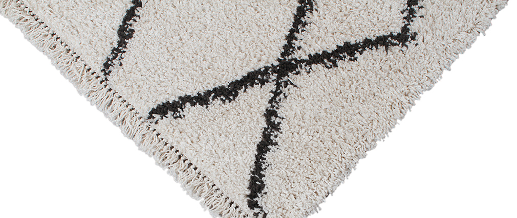 Tapis style berbère noir et blanc 160 x 230 cm TRIBU