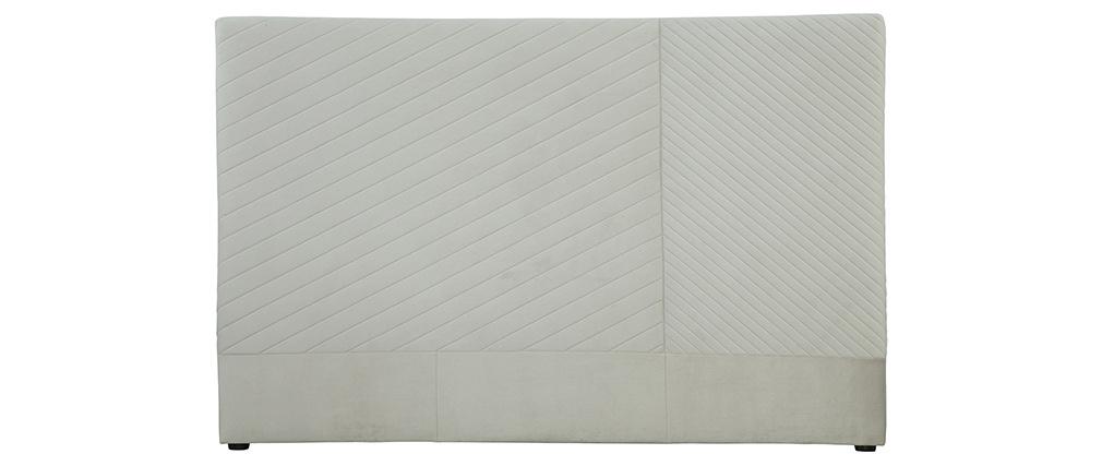 Tête de lit avec motif géométrique en velours beige L170 cm RIGA