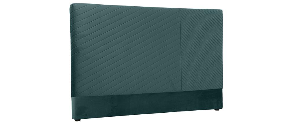 Tête de lit avec motif géométrique en velours bleu paon L170 cm RIGA