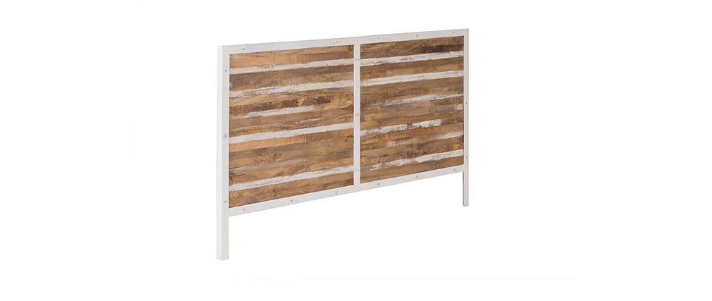 Tête de lit bois et métal blanc 170 cm ROCHELLE