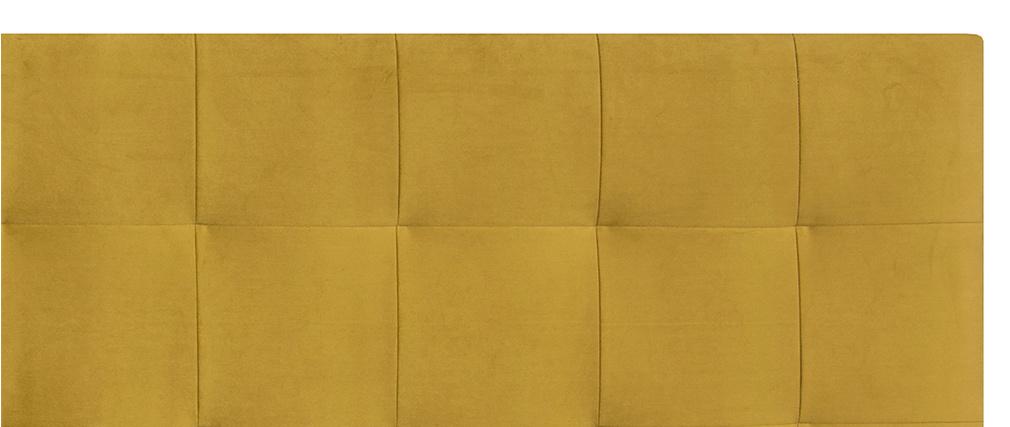 Tête de lit capitonnée effet velours moutarde 160 cm HALCIONA