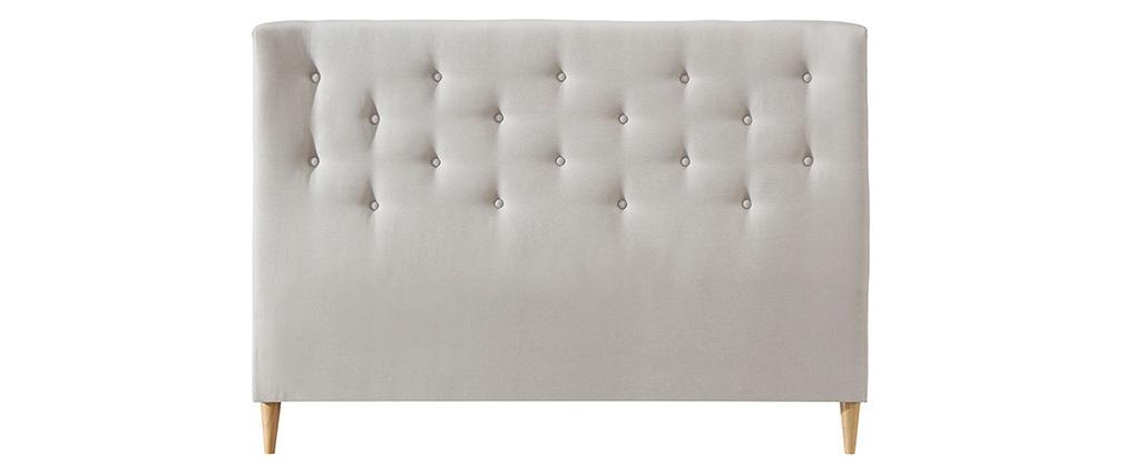Tête de lit capitonnée en tissu beige 150 cm EROS
