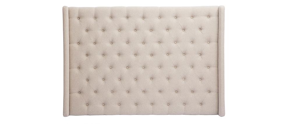 Tête de lit capitonnée en tissu beige naturel 160 cm LIZZIE