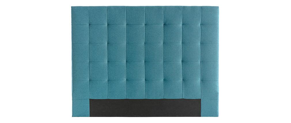 Tête de lit capitonnée en tissu bleu canard 140 cm HALCION
