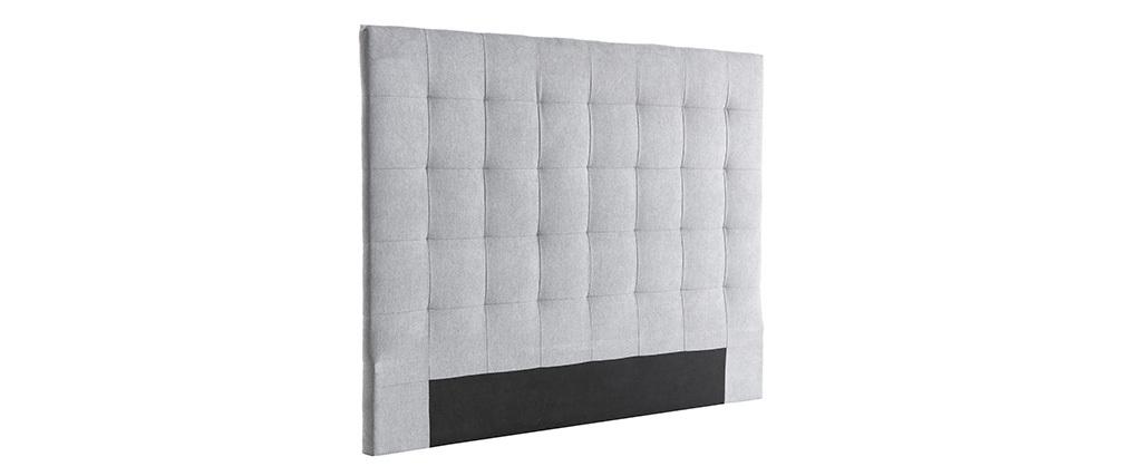 Tête de lit capitonnée en tissu gris 140 cm HALCION