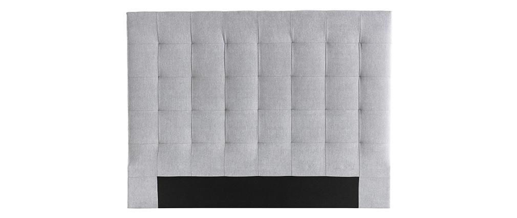 Tête de lit capitonnée en tissu gris 160 cm HALCIONA