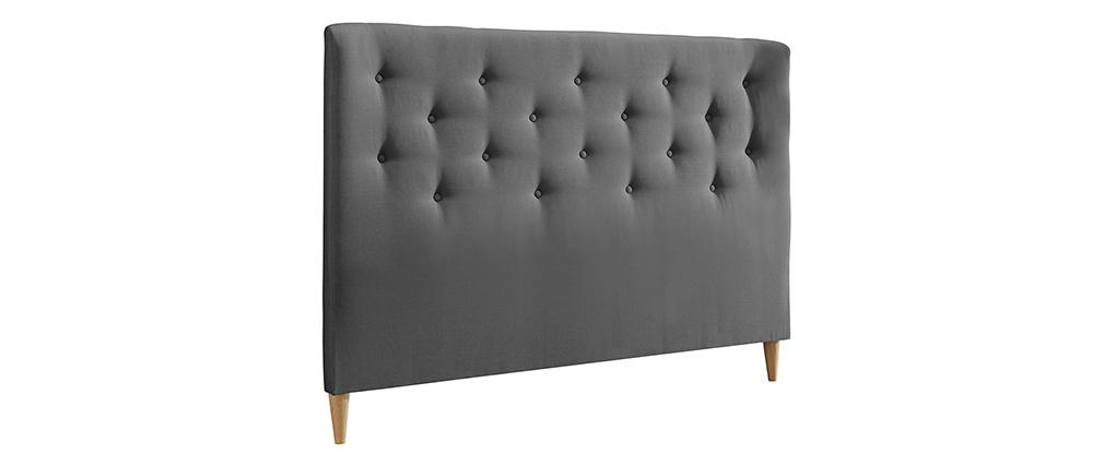 Tête de lit capitonnée en tissu gris clair 170 cm EROS
