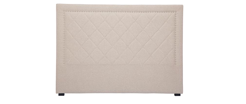 Tête de lit capitonnée et cloutée en tissu beige 160cm ESMEE