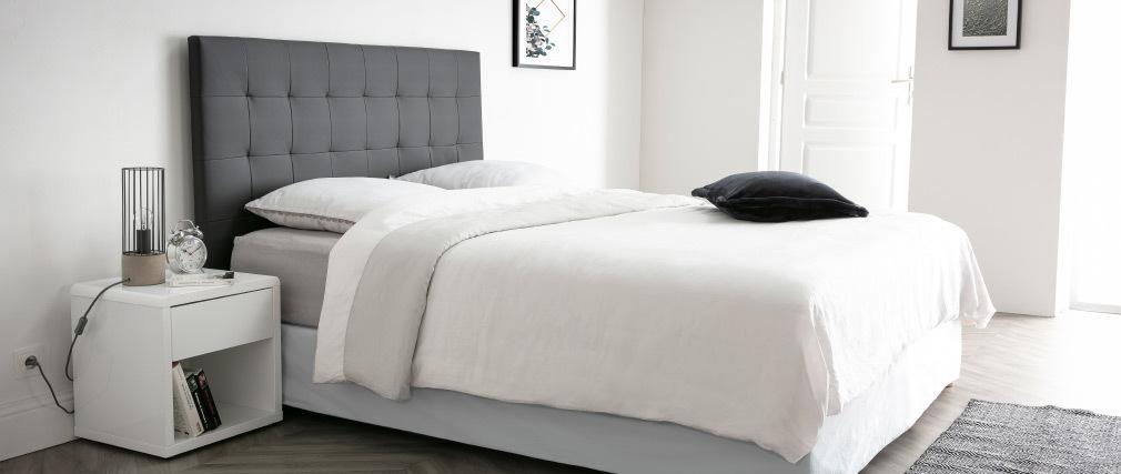 Tête de lit capitonnée gris foncé 160 cm HALCION