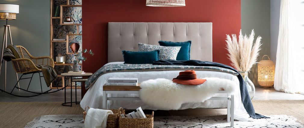 Tête de lit capitonnée velours bleu pétrole 160 cm HALCION