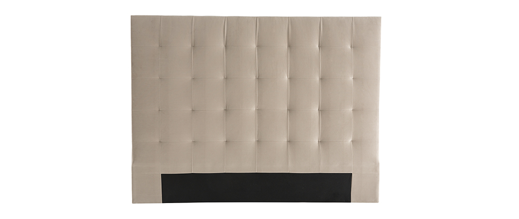Tête de lit capitonnée velours taupe 160 cm HALCION