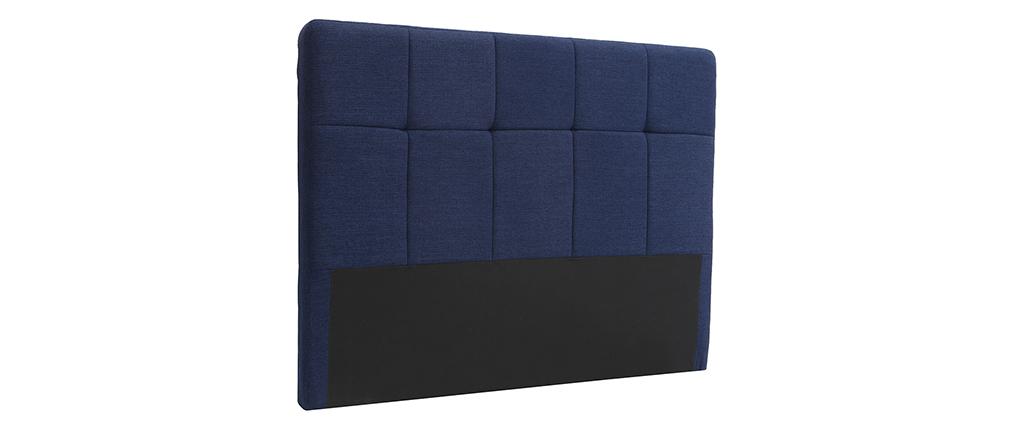 Tête de lit classique tissu bleu foncé 140 cm CLOVIS