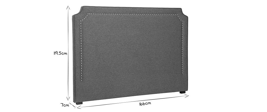 Tête de lit cloutée en tissu gris foncé L166 cm BARDOT