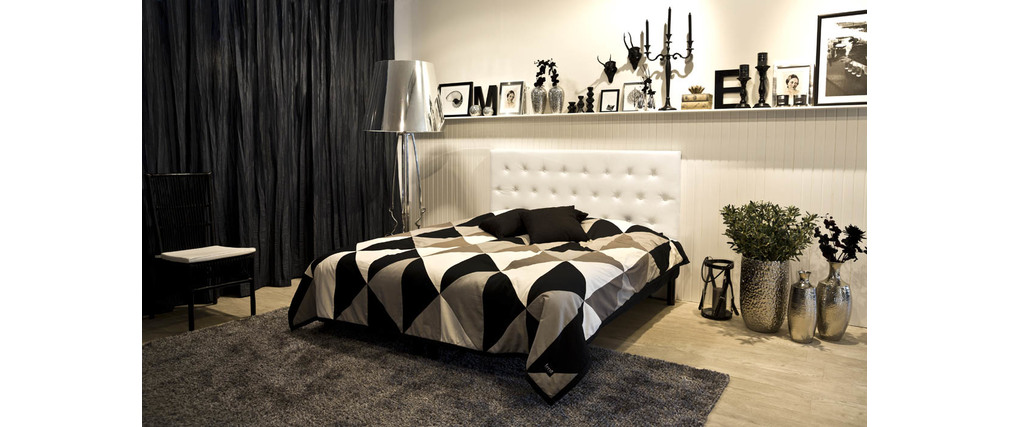 t te de lit design 180 capitonn e polyur thane blanc. Black Bedroom Furniture Sets. Home Design Ideas