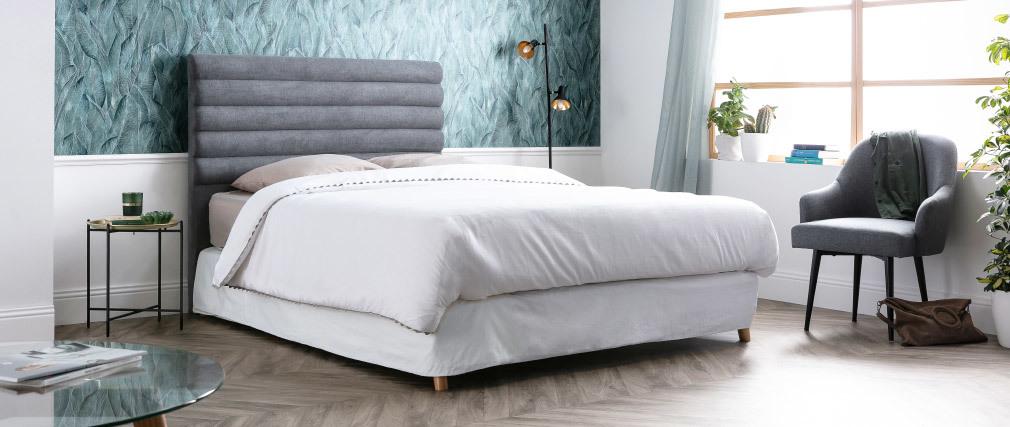 Tête de lit design en tissu gris foncé 160 cm HORIZON