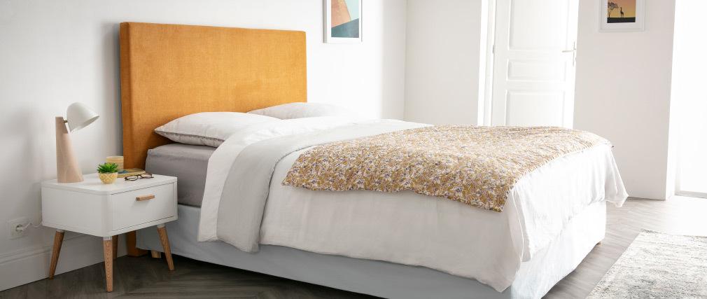 Tête de lit en tissu jaune moutarde 160 cm ZORYA