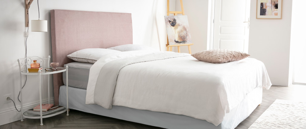 Tête de lit en tissu rose poudré 160 cm ZORYA