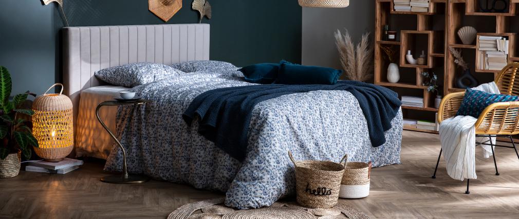 Tête de lit en velours bleu pétrole L170 cm NEHA