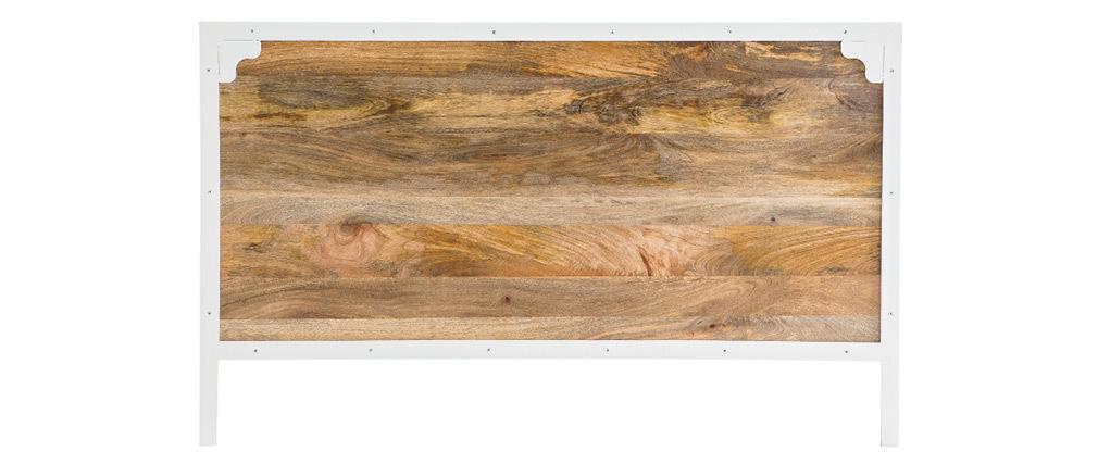 Tête de lit manguier et métal blanc 165 cm PUKKA